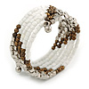 Glass and Acrylic Bead Multistrand Coiled Flex Bracelet (Silver, White, Bronze) - Adjustable