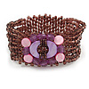 Plum Glass Bead and Pink Shell Flex Bracelet - 18cm L