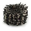 Wide Glass Bead Flex Bracelet (Black, Transparent) - up to 18cm Length