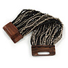 Black/ Grey Glass Bead Multistrand Flex Bracelet With Wooden Closure - 19cm L