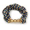 Blue/ Gold Acrylic Bead Multistrand Flex Bracelet - 16cm L (Small)