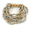 Metallic Silver/ Gold Acrylic Bead Multistrand Flex Bracelet - 17cm L (Small)
