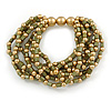 Olive Green/ Gold Acrylic Bead Multistrand Flex Bracelet - 16cm L (Small)