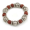 Brown Ceramic and Silver Tone Mirrored Ball Bead with Wire Flex Bracelet - 18cm L