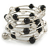 Wide Multistrand Black and Transparent Acrylic Bead Flex Bracelet In Silver Tone - 17cm L
