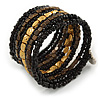 Wide Glass, Acrylic Bead Flex Coiled Bracelet - 18cm L - Adjustable (Black, Gold, Bronze)