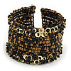 Bohemian Beaded Cuff Bangle with Sequin (Black/ Bronze/ Gold) - Adjustable