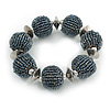 Chunky Grey/ Hematite Glass Bead Ball Stretch Bracelet - 19cm L