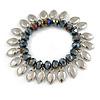 Peacock Glass Bead Silver Tone Charm Flex Bracelet - 17cm L