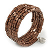 Bronze Brown Acrylic Bead Multistrand Coiled Flex Bracelet - Adjustable
