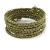 Olive Acrylic Bead Multistrand Coiled Flex Bracelet - Adjustable