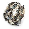 Stylish Faux Pearl, Sea Shell Nugget Flex Coiled Bracelet (Cream, Dark Grey) - Adjustable