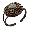 Black/ Bronze Shell Bead, Dome Shape Woven Flex Cuff Bracelet - Adjustable