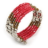 Glass and Acrylic Bead Multistrand Coiled Flex Bracelet (Silver, Deep Pink, Bronze) - Adjustable