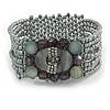 Light Grey Glass Bead and Shell Flex Bracelet - 18cm L