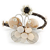 Off White Sea Shell Bead Butterfly Silver Wire Flex Cuff Bracelet - Adjustable