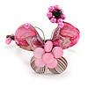 Pink Sea Shell Bead Butterfly Silver Wire Flex Cuff Bracelet - Adjustable
