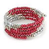 Сrimson Glass and Silver Acrylic Bead Multistrand Coiled Flex Bracelet - Adjustable