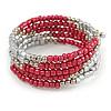Сrimson Glass and Silver Acrylic Bead Multistrand Coiled Flex Bracelet - Adjustable