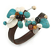 Semiprecious Stone Floral Silver Tone Wire Brown Leather Flex Bracelet - Adjustable