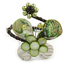 Green Sea Shell Bead Butterfly Silver Wire Flex Cuff Bracelet - Adjustable