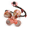 Pastel Pink Sea Shell Bead Butterfly Silver Wire Flex Cuff Bracelet - Adjustable