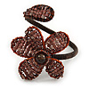Plum Glass Bead Flower Copper Wire Flex Cuff Bracelet - Adjustable