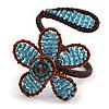 Light Blue Glass Bead Flower Copper Wire Flex Cuff Bracelet - Adjustable