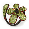 Light Green Glass Bead Flower Copper Wire Flex Cuff Bracelet - Adjustable