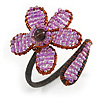Pink Lilac Glass Bead Flower Copper Wire Flex Cuff Bracelet - Adjustable