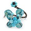 Light Blue Sea Shell Bead Butterfly Silver Wire Flex Cuff Bracelet - Adjustable