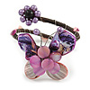 Purple/ Pink Sea Shell Bead Butterfly Silver Wire Flex Cuff Bracelet - Adjustable