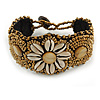 Handmade Boho Style Beaded, Shell Wristband Bracelet (Bronze, Cream) - 15cm L/ 2cm Ext - Small