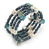 Multistrand Glass, Shell, Faux Pearl Bead Flex Bracelet (Hematite, Blue, Off White) - 17cm L