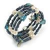 Multistrand Glass, Shell, Faux Pearl Bead Flex Bracelet (Hematite, Blue, Off White) - 17cm L