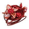 Red Shell Bead Flower Wired Flex Bracelet - Adjustable