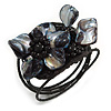 Black Shell Bead Flower Wired Flex Bracelet - Adjustable