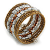 Multistrand Brown/ Bronze/ Silver Glass and Plastic Bead Flex Bracelet - 18cm L