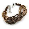 Bronze/ Brown Glass Bead Multistrand Bracelet - 18cm L/ 4cm Ext