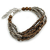 Grey/ Brown Glass Bead Multistrand Bracelet - 18cm L/ 4cm Ext