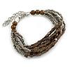 Grey/ Brown Glass Bead Multistrand Bracelet - 18cm L/ 4cm Ext
