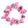 Pink Sea Shell Nugget, Glass Bead Loop Flex Bracelet - 18cm L