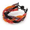 Black/ Orange/ Pink Glass Bead Plaited Bracelet - 17cm L/ 2cm Ext