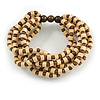 Multistrand Natural/ Brown Wood Bead Flex Bracelet - 17cm L