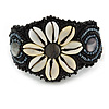 Handmade Boho Style Beaded, Shell Wristband Bracelet (Black, Grey, White) - 16cm L/ 2cm Ext