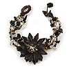 Handmade Leather Flower Semiprecious Bead Cotton Cord Bracelet (Black/ Transparent) - 15cm L - for smaller wrists