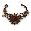 Handmade Leather Flower Semiprecious Bead Cotton Cord Bracelet (Brown) - 15cm L - for smaller wrists