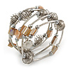 Multistrand Wired Metal Bead and Shell Nugget Flex Bracelet In Silver Tone - (Antique White)
