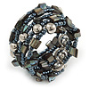Stylish Glass Bead, Metal Ball, Sea Shell Nugget Flex Coiled Bracelet ( Hematite, Silver, Dark Grey) - Adjustable