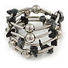 Black/ Grey Semiprecious Stone with Silver Tone Mirrored Metal Ball Coiled Flex Bracelet - Adjustable
